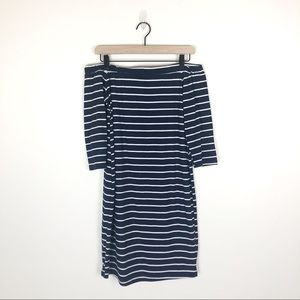 French Grey Striped Off the shoulder dress